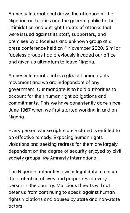 Amnesty International Nigeria Replies A Nigerian Group Threat - We Are Not Discouraged By Malicious Threats