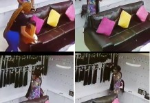 CCTV Catches Woman Stealing Bone Straight Hair 300g Worth 200k From A Boutique