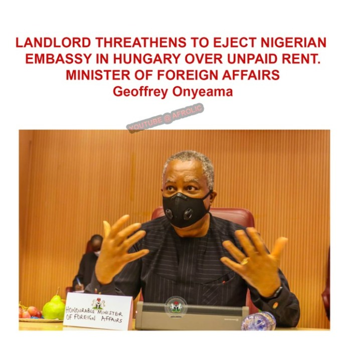 Landlord threatening to eject Nigerian embassy in Hungary over owed rent