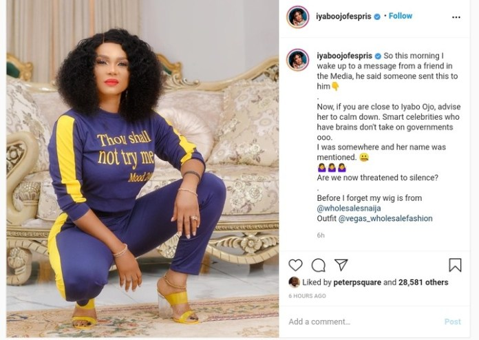 Nollywood actress Iyabo Ojo Alleges Threat From Government Over Participation In EndSARS Protest
