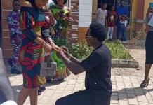 Photos Of A Nigerian Man Hycent Ukwayi Proposing To His Girlfriend In Church