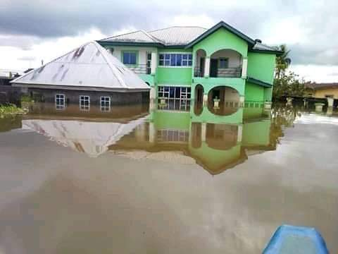 Photos Of Flood Taking Over Houses And Roads In Ahoada, Rivers State
