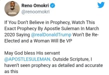 Throwback Video Of Apostle Suleman Prophesying That Joe Biden Will Be Impeached For Harris To Be President