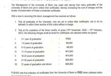 University Of Benin Pleads With The Graduates Of The University To Please Come And Collect Their Certificates