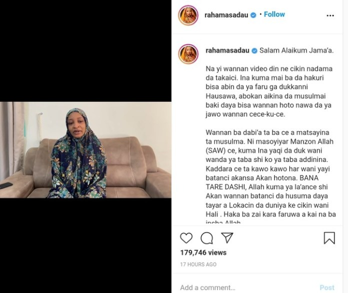 Video Of Rahama Sadau Apologizing And Deletes Controversial Pictures Over Indecent Dressing