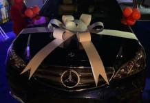 Video of bbnaija Laycon's fans gift him a Benz E350 as his 27th birthday gift