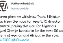 Yoo Myung-Hee To Withdraw From WTO DG Race Paving Way For Okonjo-Iweala