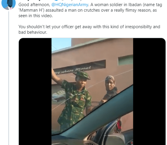 Video Of Physically-Challenged Man Olumuyiwa Bolade Adedeji Accusing Female Soldier Of Beating Him In Ibadan