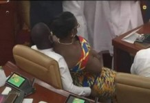 Video Of Married Ghanaian politician, Mrs Ursula Owusu Ekuful comfortably sitting on another man's lap in Parliament