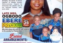 35-year-old woman, Ebere Precious Ogbodo and her four children killed in a deadly house fire in Jos