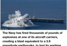 Video Of Thousands Of Pounds Of Explosives Fired By US Navy To Test Aircraft Carrier