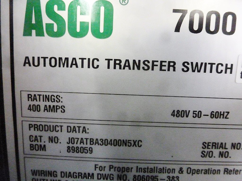 asco 7000 wiring diagram hvac thermostat series automatic transfer switch great used 400a 4785 rh globalpwr com 200 amp riser line