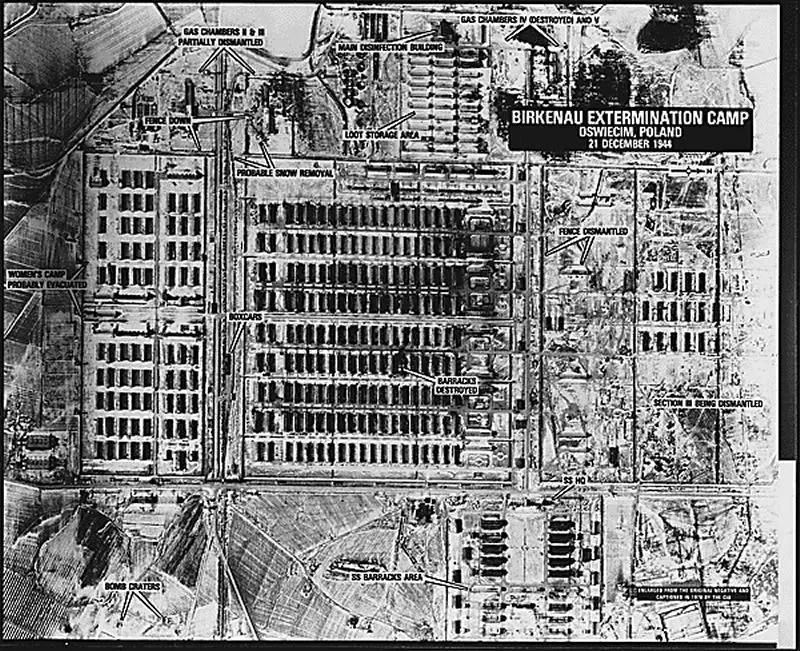 Aerial photo of partially dismantled camp (Birkenau, Dec. 1944)