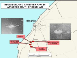 Briefing map showing approximate location of Gadhafi regime ground forces on the outskirts of Benghazi struck by coalition tactical fighters.