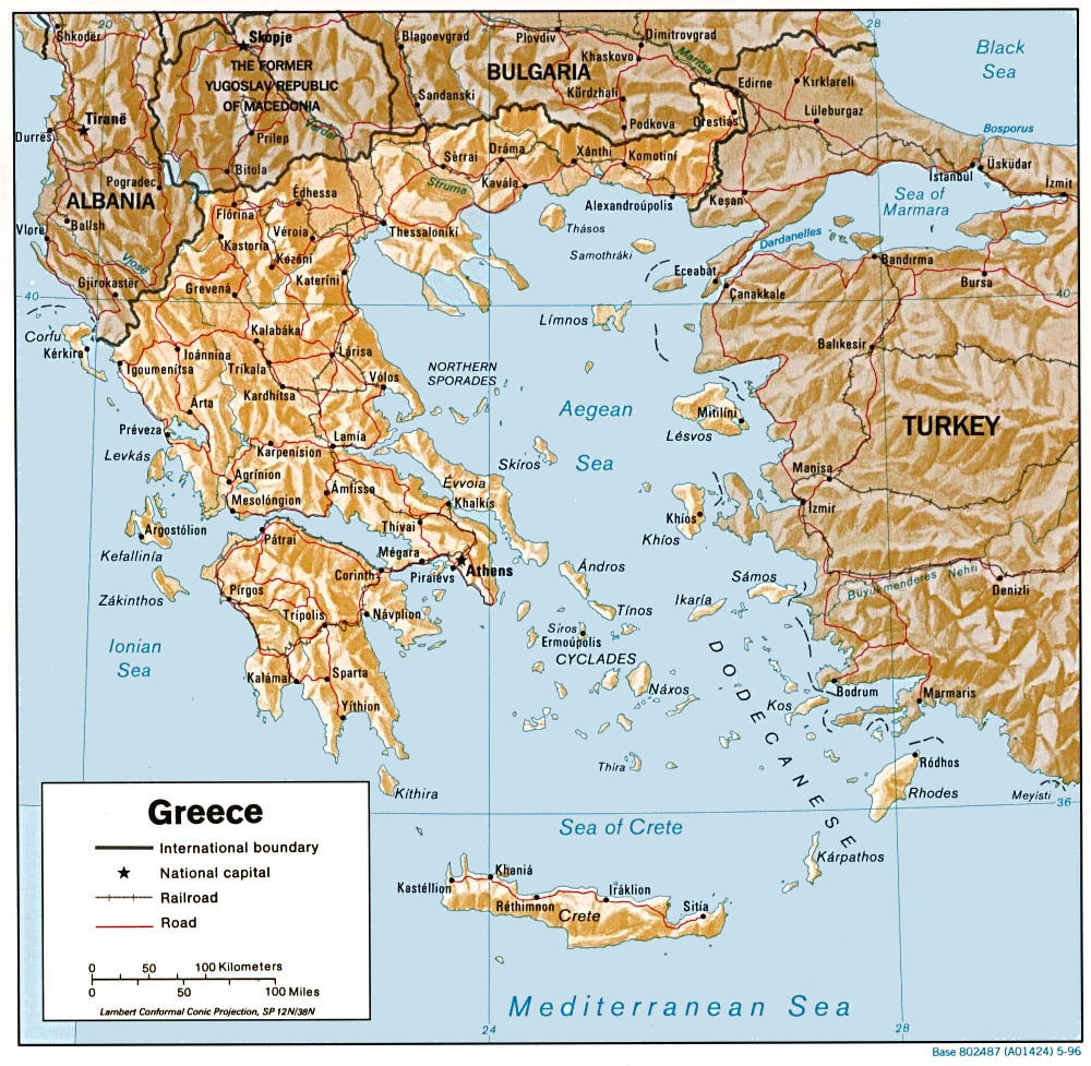 Greece Physical Map - Modern Home Revolution