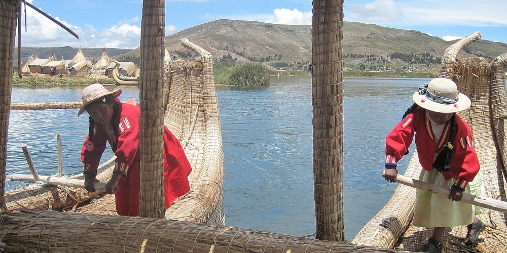 Traditional boats on Lake Titicaca
