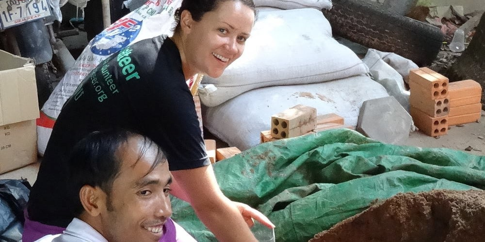 Volunteer and staff at the Cambodia Clean Water Project