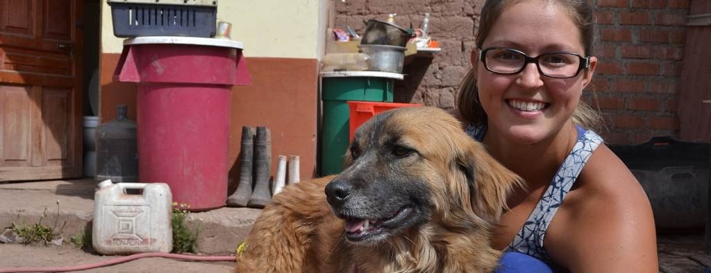 Peru Dog Rescue Project volunteer with dog
