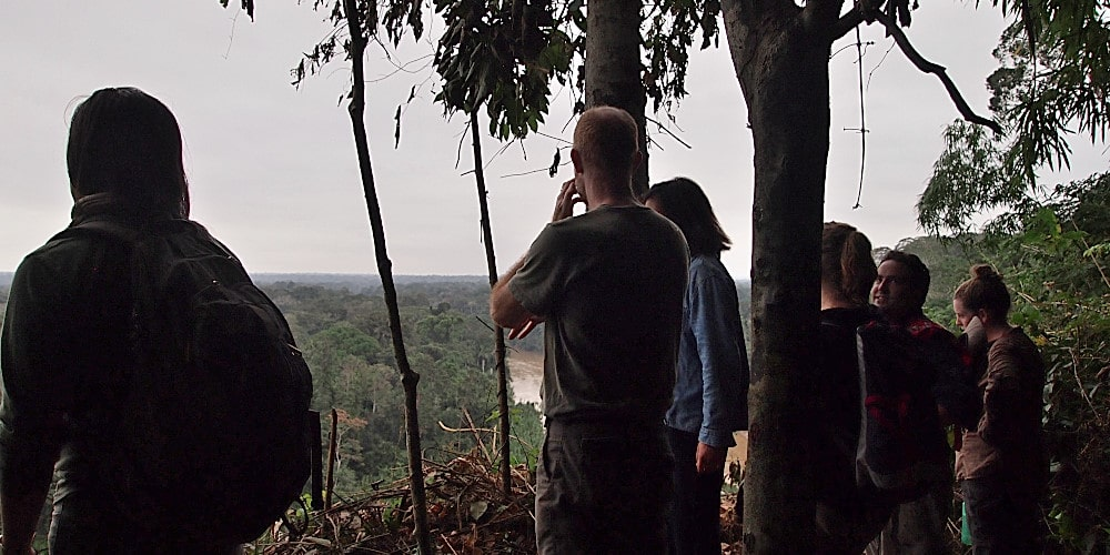 Volunteers hiking in the Peruvian jungle