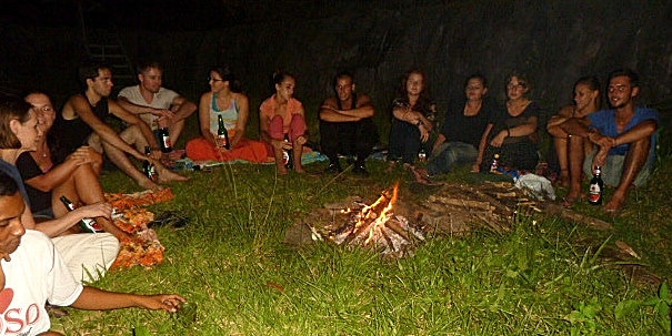 Volunteers enjoying a campfire at the Indonesia Wildlife Project