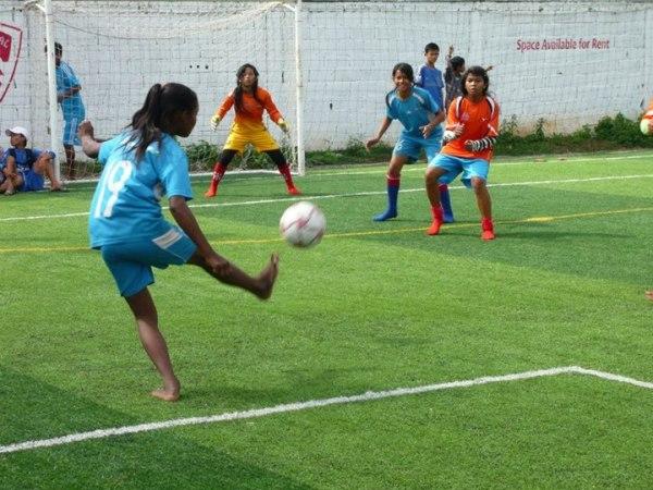Girls playing sport in Cambodia