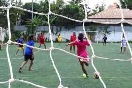 Girls soccer game in Cambodia