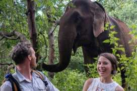 Couple with elephant