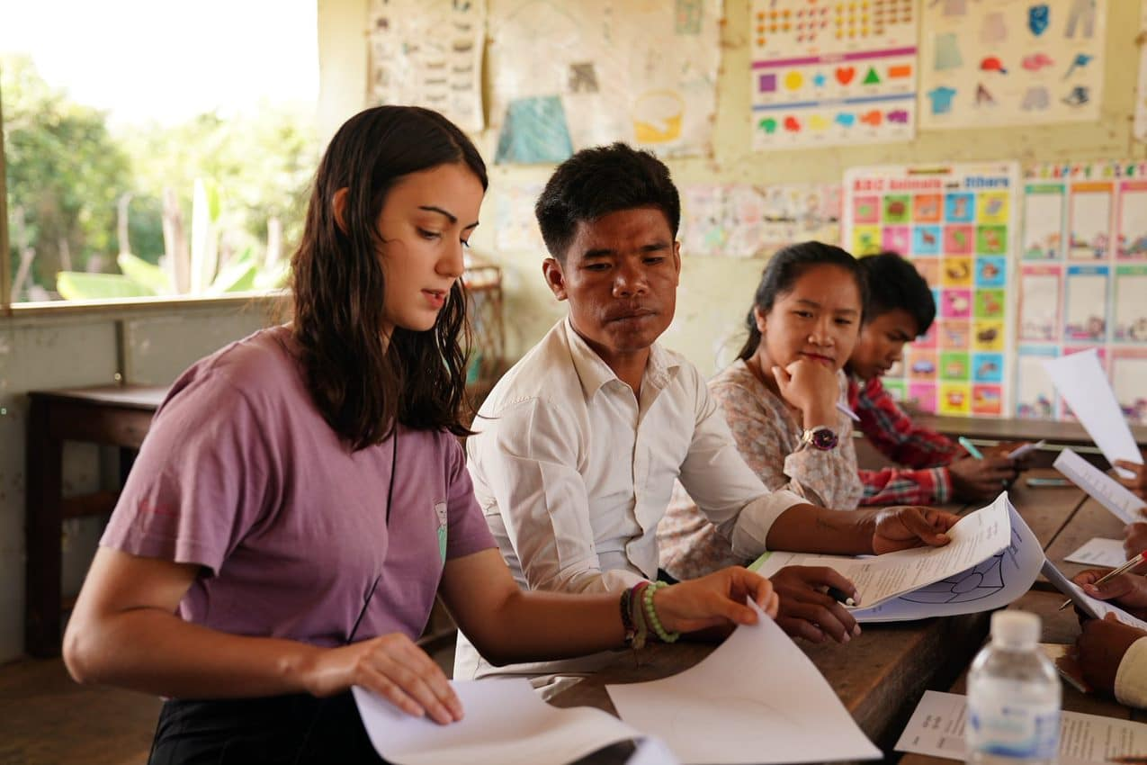 Teaching children about safety in Cambodia