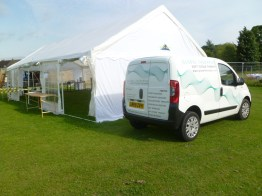 The now liveried up van outside the marquee