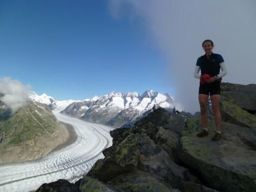 Lynne high up above the glacier on the Bettmerhorn-Eggishorn ridge