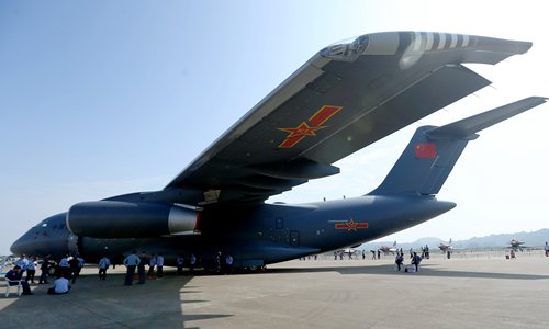 China's new-generation military transport aircraft, the Y-20, sits on the tarmac in preparation for the China International Aviation & Aerospace Exhibition 2016, which opens Tuesday in Zhuhai, Guangdong Province. Photo: Cui Meng/GT