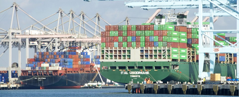 The port of Los Angeles is handling more shipments of export cargo and import cargo in international trade.