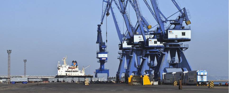 Some ports in China are handling fewer shipments of export cargo and import cargo in international trade.