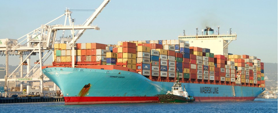 Moody's may downgrade credit rating of Maersk company that handles shipments of export cargo and import cargo in international trade.