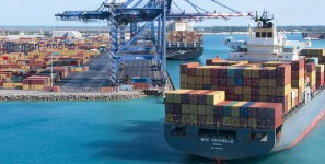 New trnaspacific service carries shipments of export cargo and import cargo in international trade.