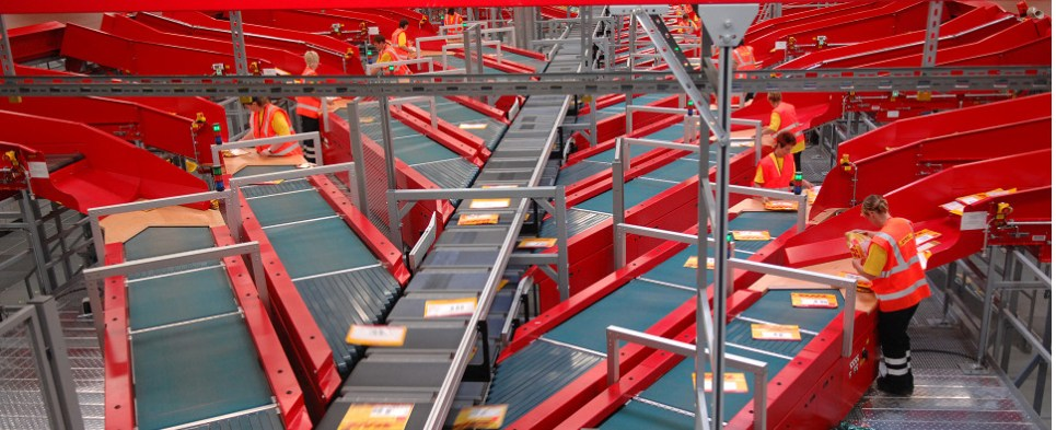 DHL Leipzig facility processes shipments of export cargo and import cargo in international trade.