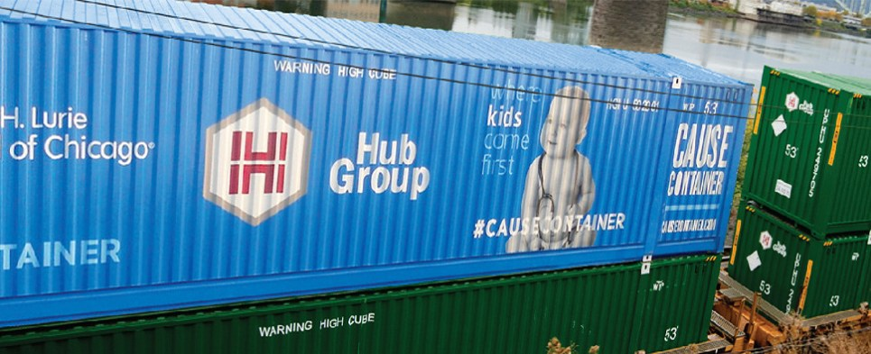 Hub Group combines chaity with container shipments of export cargo and import cargo in international trade.