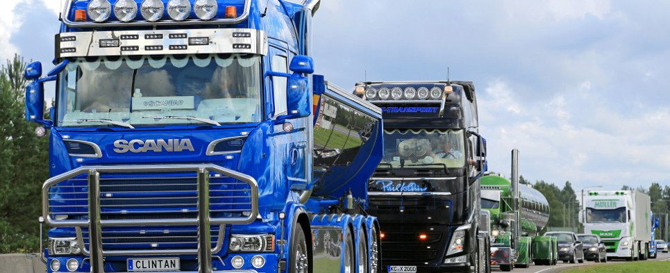 Ideas for transforming trucks that carry shipments of export cargo and import cargo in international trade.