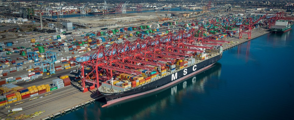 The port of Long Beach in april handled more shipments of export cargo and import cargo in international trade.