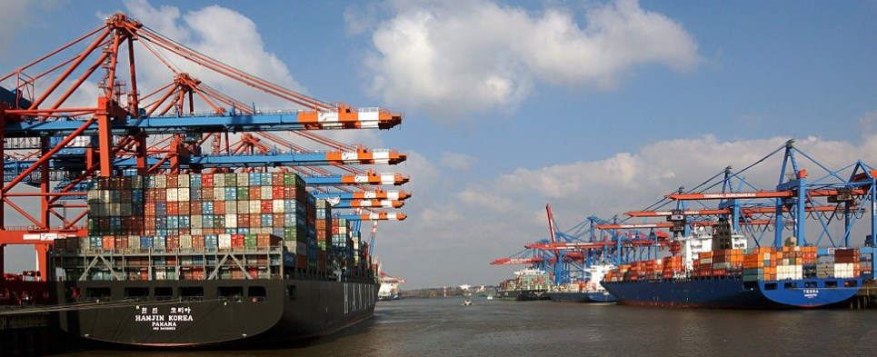 More large ships are carrying shipments of export cargo and import cargo in international trade.