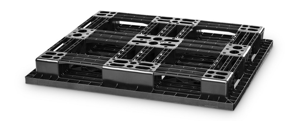 New plastic pallets support handling of shipments of export cargo and import cargo in international trade in warehouses.