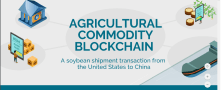 Blockchain technology used to process transaction associated with shipments of export cargo and import cargo in international trade.