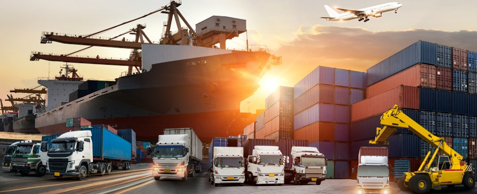 More shipments of export cargo and import cargo in international trade means greater energy consumption in transportation sector.