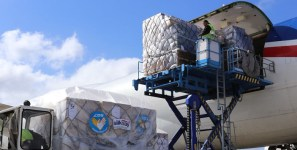 Airline delivers aid shipments of export cargo and import cargo in international trade.