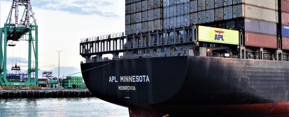New APL service carries shipments of export cargo and import cargo in international trade.