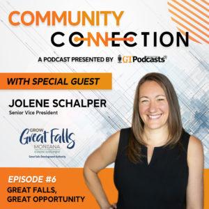 Great Falls Community Podcast cover art featuring Jolene Schalper