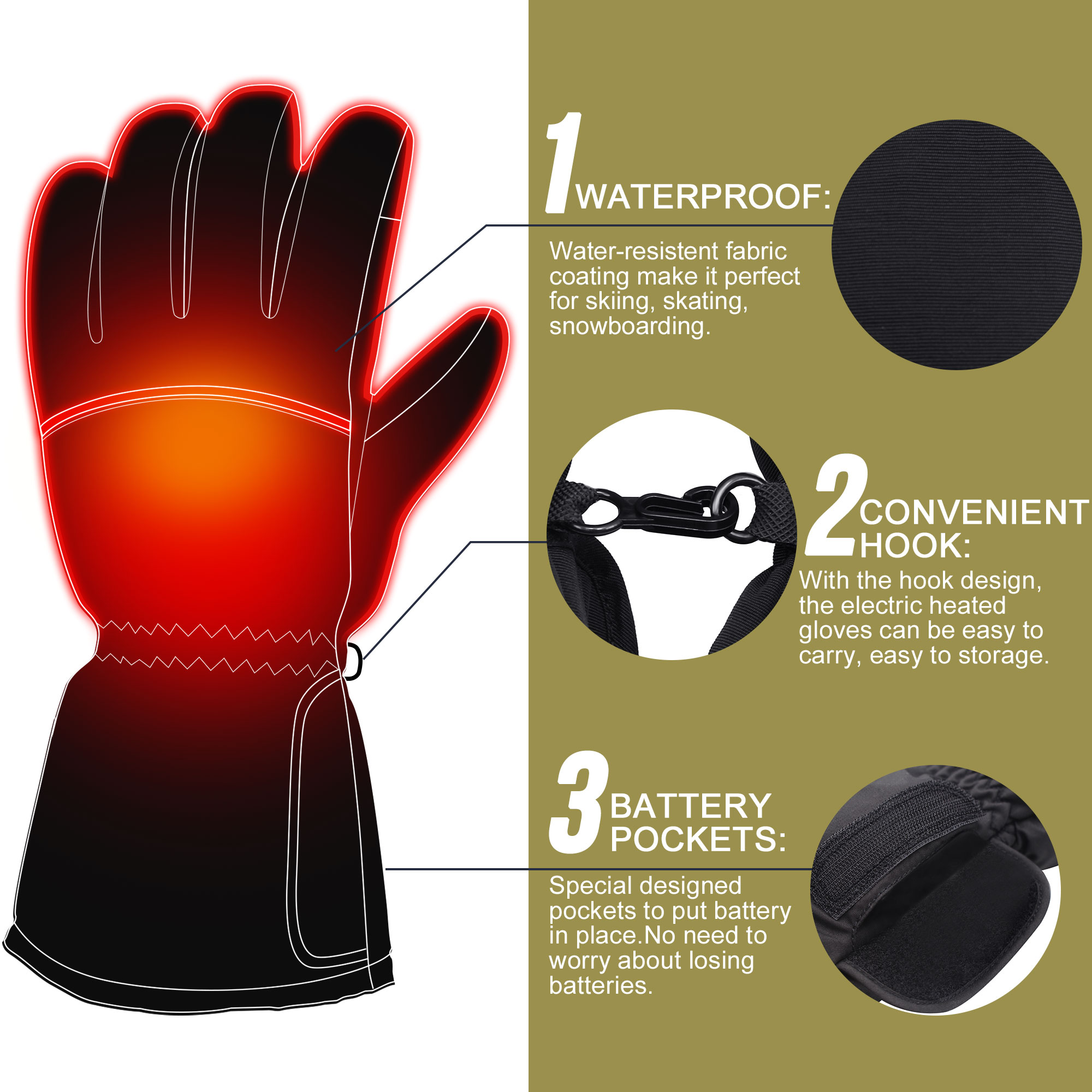 hight resolution of  3 7v heated gloves with rechargeable battery winter warm heating gloves cold weather hikking skiing