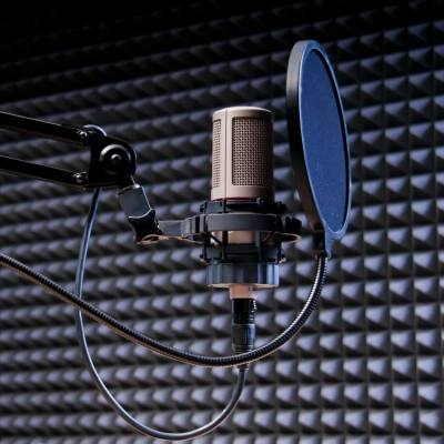 professional studio grade microphone with anti-pop filter
