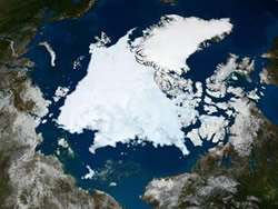 Courtesy ABC News. he Advanced Microwave Scanning Radiometer (AMSR-E), a high-resolution passive microwave Instrument on NASA's Aqua satellite shows the state of Arctic sea ice on September 10 in this image released September 16, 2008.