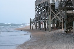 The U.S. Environmental Protection Agency estimates that 80 to 90 percent of the sandy beaches along America?s coastlines have been eroding for decades. Individual beaches may lose only a few inches per year; others may lose much more. Of particular concern is the effect climate change, which causes sea level rises and also increases the severity and frequency of harsh storms, has on beach erosion